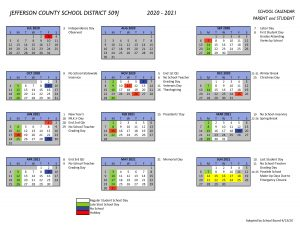 2020 2021 Parent/Student Calendar | Jefferson County School
